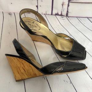 PRADA black peep patent leather wood wedges 38.5